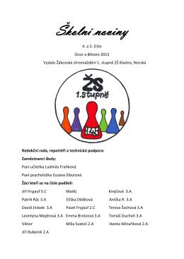Školní noviny - ZŠ a MŠ Kladno, Norská 2633