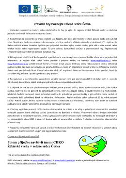 Pravidla hry Poznejte zelené srdce Česka Potom