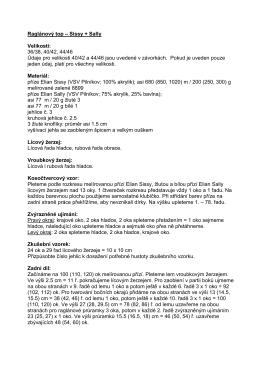 Raglánový top – Sissy + Sally Velikosti: 36/38, 40/42, 44/46 Údaje