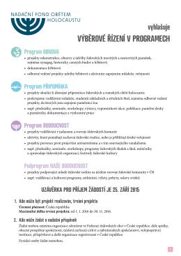Grantová pravidla pro projekty v roce 2016