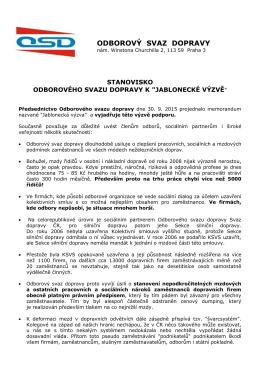 Jablonecká výzva 2015 - Odborový svaz dopravy