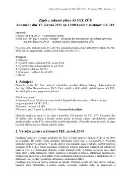 Zápis ze 160. zasedání AS FEL konaného 17. června 2015