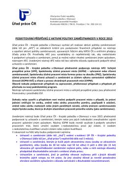 poskytování příspěvků z aktivní politiky zaměstnanosti v roce 2015