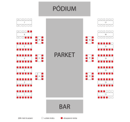 204 míst k sezení volné místo obsazené místo