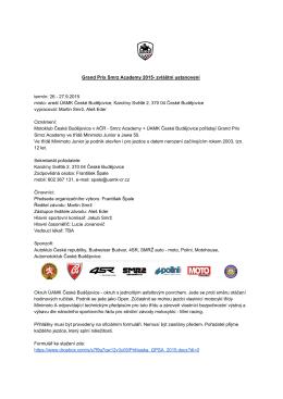 Grand Prix Smrz Academy 2015 zvláštní ustanovení