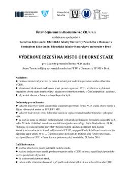 výběrové řízení na místo odborné stáže udu av čr