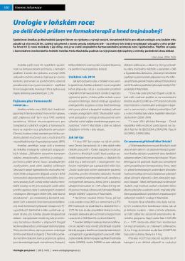 Urologie v loňském roce: