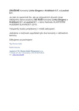 Zrušený koncert LINHA SINGERS dne 6.7.2015