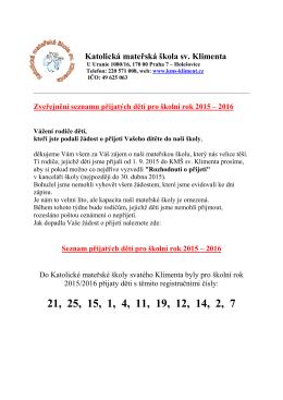 Seznam přijatých dětí - Katolická mateřská škola sv. Klimenta