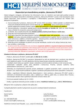 """Doporučení pro koordinátory projektu """"Nemocnice ČR 2015"""""""
