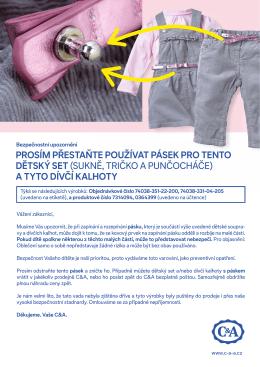 PrOsím Přestaňte POužívat Pásek PrO tentO dětský set - c-and