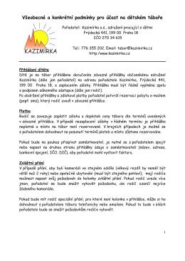 Všeobecné a konkrétní podmínky pro účast na dětském