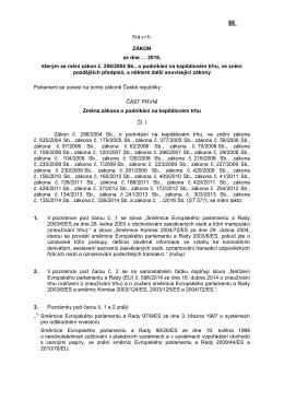 novelu zákona, kterou se mění zákon č. 256/2004 Sb., o podnikání