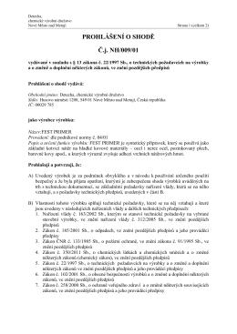 PROHLÁŠENÍ O SHODĚ Č.j. NH/009/01