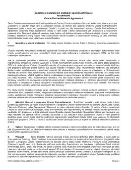 Dodatek o instalačních službách společnosti Oracle ke smlouvě