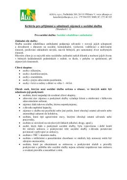 SRA Kritéria pro přijímání a odmítnutí (ST. 3)