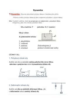 Dynamika 1. působištěm 2. velikostí 3. směrem 4. orientací