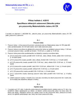 Příkaz ředitele č. 4/2015 - Intranet Matematického ústavu AV ČR