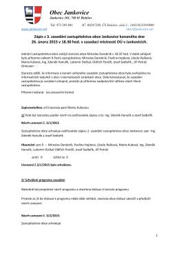 Zápis z 3. zasedání zastupitelstva obce Jankovice