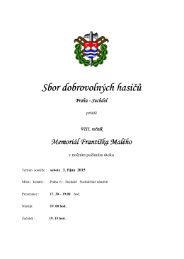 Propozice - SDH Praha