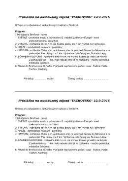 """Přihláška na autobusový zájezd """"TACHOVSKO"""" 12.9.2015 Přihláška"""