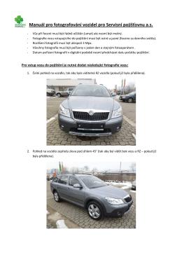 Manuál pro fotografování vozidel pro Servisní pojišťovnu II