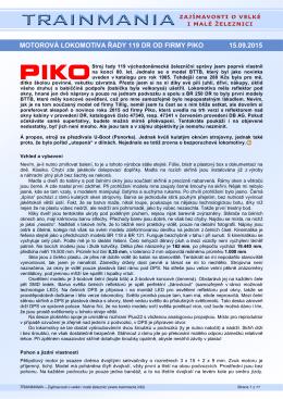 motorová lokomotiva řady 119 dr od firmy piko 15.09