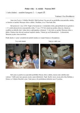 Pohár vědy – 4. ročník – Neuron 2015 1. kolo (leden) – soutěžní