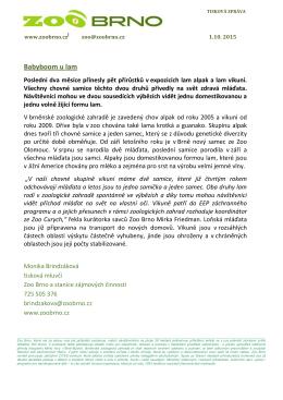 Tisková zpráva Zoo Brno 1. 10. 2015