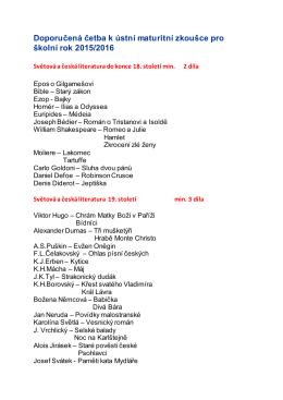 Doporučená četba k ústní maturitní zkoušce pro školní rok 2015/2016