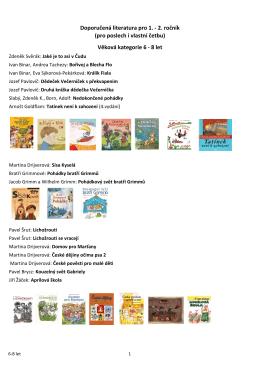Věková kategorie 6 - 8 let Doporučená literatura pro 1.