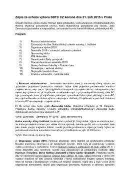 Zápis ze schůze výboru, 21. 9. 2015