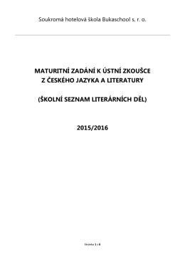 Skolní seznam cetby k MZ 2016