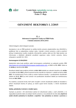 OZNÁMENÍ REKTORKY č. 2/2015