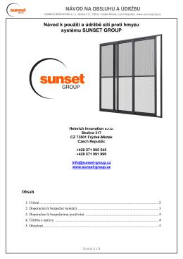 NÁVOD NA OBSLUHU A ÚDRŽBU - Sunset