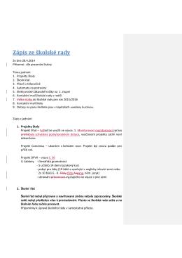 5. Zápis školské rady ze dne 28.4.2015