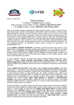Tisková zpráva - Česká chuťovka