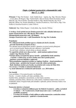 Zápis z jednání pastorační a ekonomické rady 17. 3. 2015