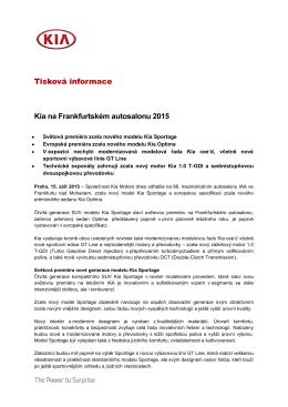 Tisková informace Kia na Frankfurtském autosalonu - kia