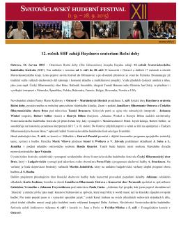 2015 SHF Tisková zpráva - červen - Svatováclavský hudební festival