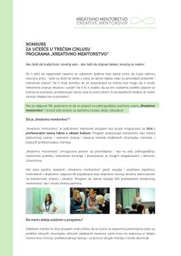 tekstu konkursa - Kreativno mentorstvo