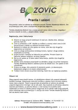 Pravila i uslovi - Bozovic Tennis Academy