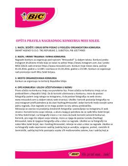 opšta pravila nagradnog konkursa miss soleil - BIC