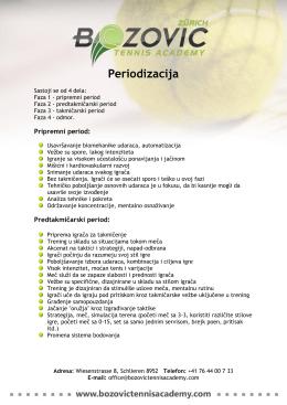 Periodizacija - Bozovic Tennis Academy