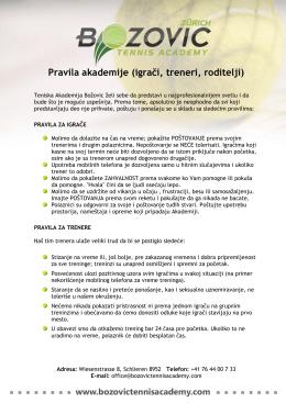Pravila Akademije - Bozovic Tennis Academy