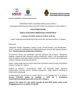 Pozivno pismo - Vanjskotrgovinska / Spoljnotrgovinska komora BiH