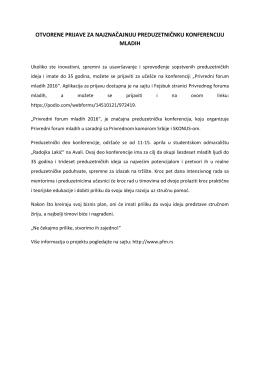 Poziv za učešće na konferenciji od 11. do 16. aprila