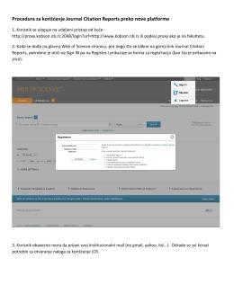 kratko uputstvo za korišćenje JCR-a preko nove platforme