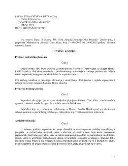 Etički kodeks - Dom Zdravlja Danilovgrad