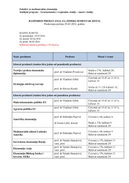 raspored nastave za letnji semestar 2015-16